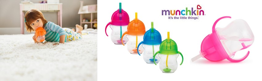 Неразливаща чаша с дръжки и сламка с тежест Click Lock Munchkin - Raya Toys
